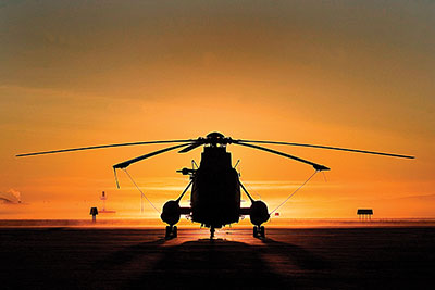 The sun sets on the Sea King
